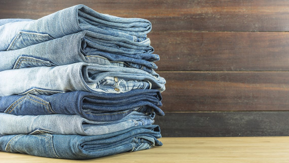 folded stacked jeans
